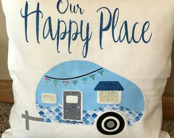 Camper Happy Place Throw Pillow, Glamping, Throw Pillow, Decorative Pillow, RV Decor, Happy Camper, Pillow, Vintage Camper, Glamping Decor