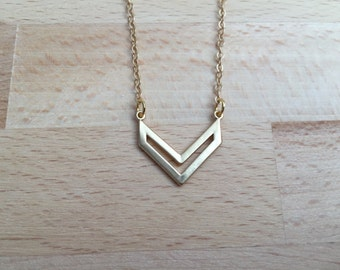 Matte gold chevron necklace dainty necklace minimalist necklace gift for her