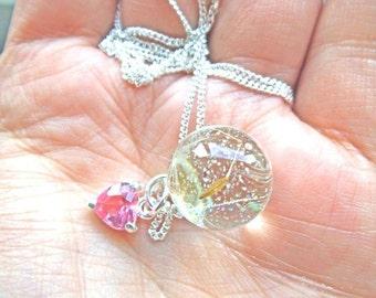 Example keepsake dandelion wish sparkle sphere pendant nature  necklace.