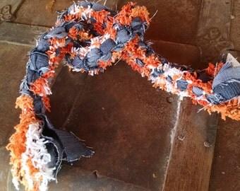 upcycled orange, white, denim doggy tug toy
