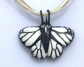 Pearl White Monarch Butterfly Necklace
