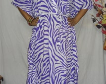 Violet-white zebra stiped cotton  kaftan,hospital gown, maternity kaftan, cotton caftan, nursing robe ,kaftan dress, plus size clothing boho