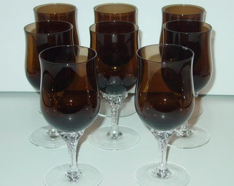 Celebrity Coco Wine Glasses (8) Hand Blown Crystal Japan