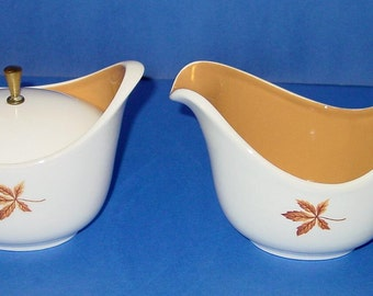 Random Leaves Creamer and Sugar with Lid Ever Yours Taylor, Smith & T