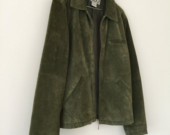 Vintage Khaki Suede Zip Up Jacket