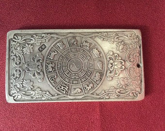 Vintage Tibetian silver astrology plaques