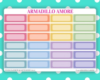 Quarter Boxes {24 Fancy Matte or Glossy Planner Stickers, Double Rainbow Minimalist Theme} | #16-97