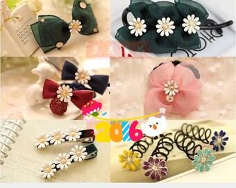 DIY hair ornaments-oil drop daisy shape,bowknot hair pins/accessories,hair picks parts
