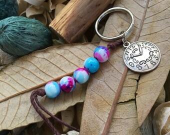 Handmade, Boho, Beach, Watercolor Beads, Silver Clock Charm, Brown Hemp Cord, Key Chain, Key Fob, Lanyard, Purse Charm, Bag Charm