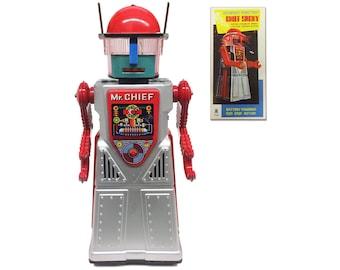 Vintage Style Collectible Chief Smoky Robot - Silver Robotman