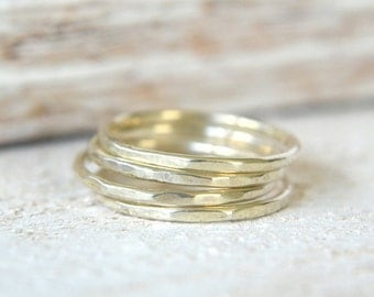 Four Stacking Rings. Sterling Silver Ring, Silver Stackable Rings, Stack Rings, Thin Stacking Ring, Dainty Ring, Silver Skinny Ring