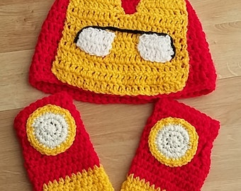 ironman crochet hat and gloves