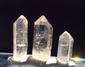 3 clear, natural Quartz Crystal points, keyholes, elestial, fairy lines (C134)