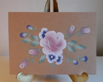 hand painted greeting card - rose