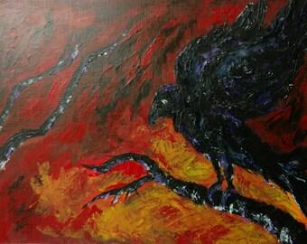 9x12 Crow Painting