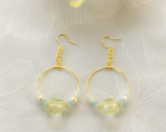 Gold hoop with yellow square beads and pearls earrings