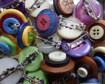 Tiered Button Brooches