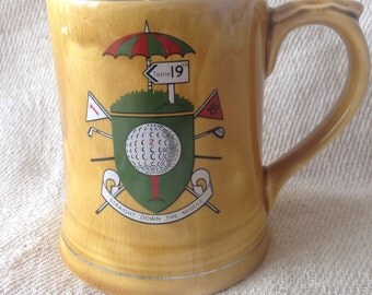 """Vintage Wade Golf Tankard - """"Straight Down the Middle"""""""