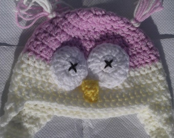 Pink Owl Baby Hat/ crochet owl hat/ crochet animal hat with earflaps/ novelty beanie/ winter wear/ gift for baby girl, baby shower