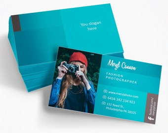 Free Customize, Modern Business Card for Photographer, Blue Business Card, Modern Calling Card, Blue and Brown Calling Card