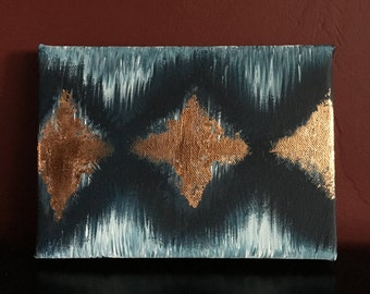 """Blue Diamond Pattern with Copper Leafing (5x7"""")"""