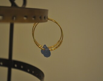 Gold+Periwinkle Small Hoop