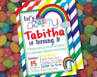 Rainbow Art Party birthday invitation, Craft party invitation, printable invitation, any age birthday - Painting Party, rainbows, colorful