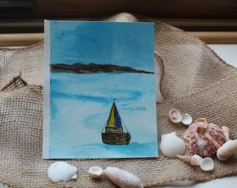 Sailboat- Original Watercolor Painting