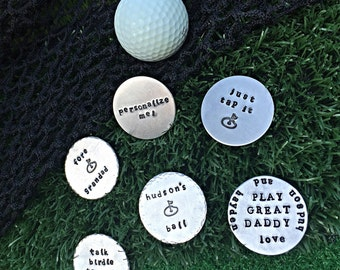 Hand-stamped Golf Ball Markers- Gift for him-Father's Day gift- Groomsmen gift- Personalized Ball marker