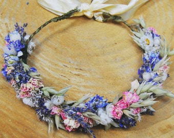 Flower crown with dried flowers, Wedding flower crown, floral crown, Rustic flower crown, natural flower crown