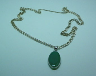 Green and Silver Acrylic Necklace with Lobster Claw Clasp