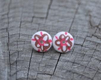 Whimsical flower button earrings