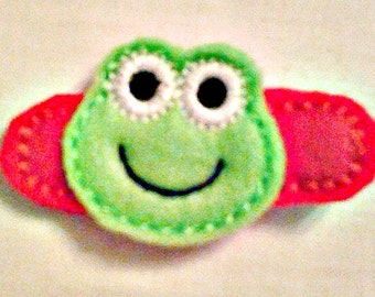 HAIR CLIPPIE FROG girls felt barrette