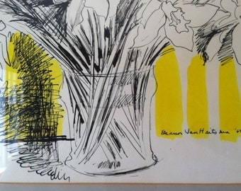 Mid century Modern Hollywood regency, Black and yellow numbered print