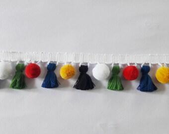 pom pom with tassel fringe/multi coloured tassel trims