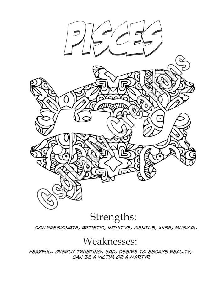 Zodiac Star Sign Art Print Pisces Astrology Print Coloring