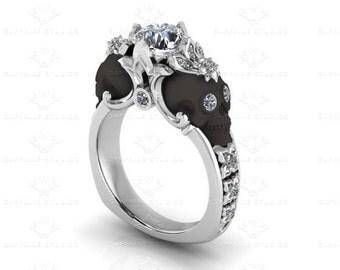 Nouveau 1.55ct White,Rose or Black Gold Skull Engagement Ring