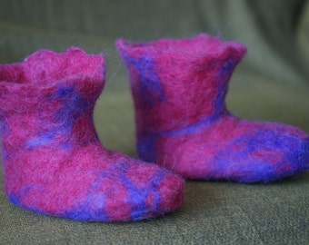 Pink and Purple felted Booties