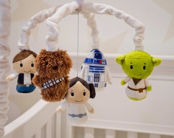 Star Wars Mobile - Baby Crib Mobile - Star Wars Nursery - Yoda, Han Solo, Princess Leia, R2D2, Chewbacca
