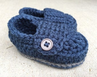 Baby Boy Button Booties - Ready to Ship