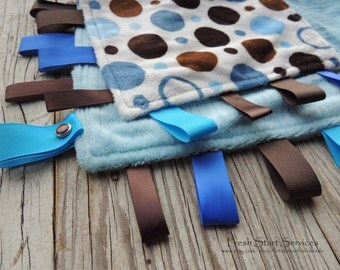 Blue and Brown Blanket - Ribbon Sensory Blanket - Minky Blanket - Taggie - Lovey - Minky Carseat Blanket - Baby Shower Gift - Baby Boy Gift