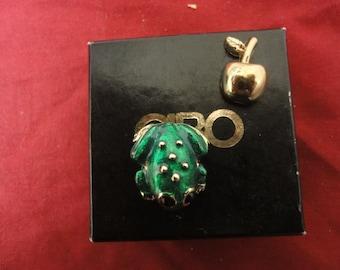ciro brooch/pin  FROG AND  APPLE       in original box-perfect gift