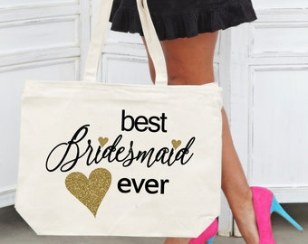 BEST BRIDESMAID EVER Heavy Canvas Tote with Zipper