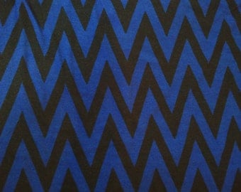 Royal Blue & Black Chevron Print Knit