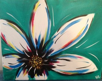 Large White Flower with turquoise background
