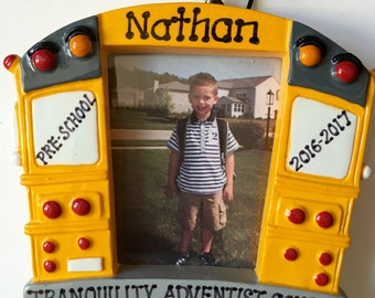 33% Off Personalized School Bus Picture Frame Christmas Ornament- Pre-K, Kindergarten,Class gift, 1st Day of School