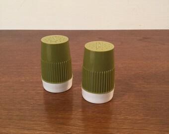 Retro Avacado Green Plastic Salt and Pepper Shakers