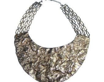 Huge Hammered Gilt Metal Bib Necklace. 1970's.