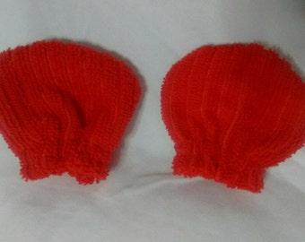 """Red """"Soft""""  NB scratch mittens"""
