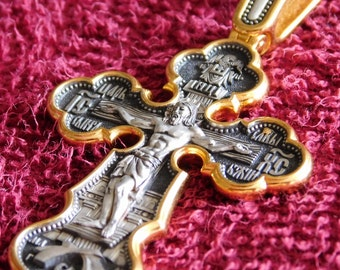 RUSSIAN ORTHODOX CROSS eastern pendant large 17 gr sterling silver 925+999 gold new